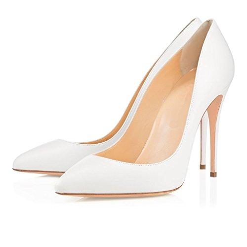 ELASHE - Femmes - Stiletto sexy - Classic - Plusieurs coloris- Cuir synthétique - Talon aiguille 10CM - Bout pointu fermé Blanc