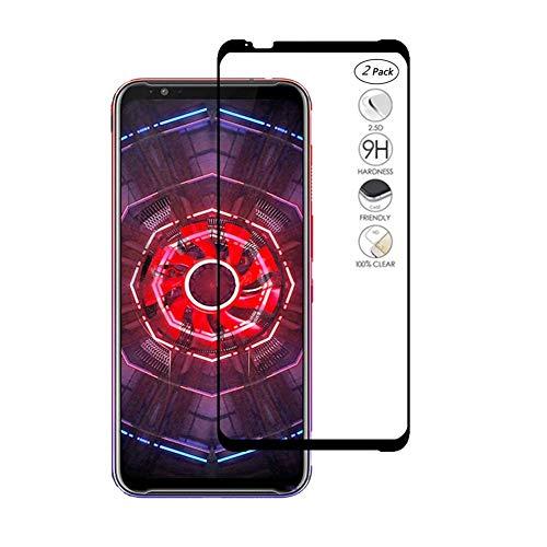 HERCN ZTE Nubia Red Magic 3 Displayschutzfolie,Full Coverage Vollkleber 2.5D 9H Härte Gehärtetem Glas Tempered Displayschutz Screen Protector für ZTE Nubia Red Magic 3 Smartphone (Schwarz-2 Pack) Red Protector