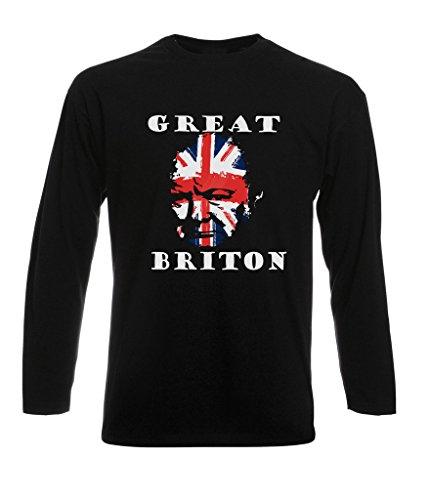 Winston Churchill Inspired Long Sleeve Mens T-Shirt - 'Great Briton' British Flag Britain England English Conservative Tory Liberal