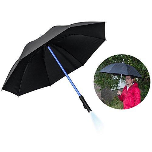 Lichtschwert Sie Ein Machen (Itian 80cm LED Regenschirm im Lichtschwert Design mit integriertem Taschenlicht,Schützt vom Regen und bringt Licht in die trüben Tage(schwarz))