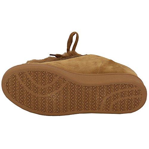 Pour Femmes Daim Look Plat Fourrue Baskets Femmes Chaussures Chaussures À Lacets Mode Décontractée Khaki - 20169