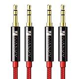 Câble Jack [1.2m/Lot de 2] IVANKY - Garantie à Vie/Qualité Sonore HiFi -Câble Auxiliaire Audio Stéréo 3.5 Mâle Mâle en Nylon Tressé pour iPhone, iPod, iPad, Voiture, Casque, MP3, Sony, et plus - Rouge