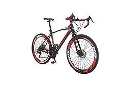 Idea Regalo - Helliot Bikes Sport 01, Bici da Strada Unisex Adult, Nero/Rosso, M-L