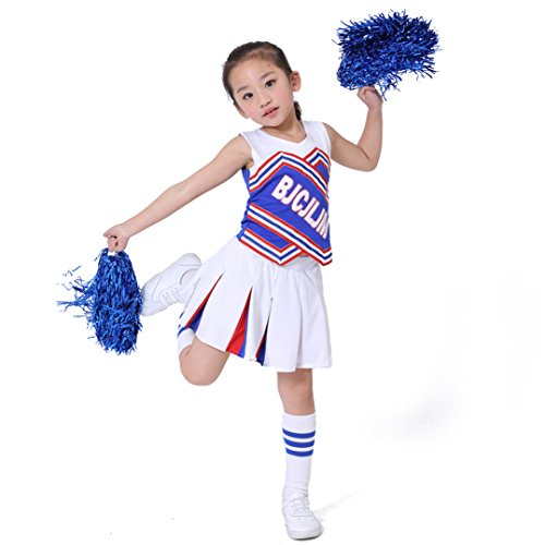 Dreamowl Kinder Mädchen Blau Weiß Cheerleader Uniform Cheerleader Outfit mit Pom Socken (116/122) (Mädchen Jubeln Kostüm)