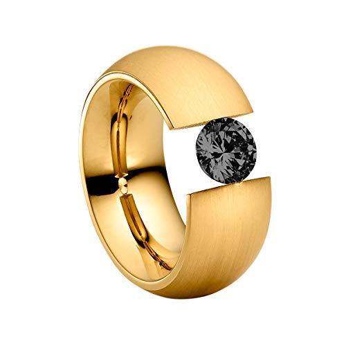 Heideman Ring Damen Elegantia XL aus Edelstahl Gold farbend matt Damenring für Frauen mit Swarovski Stein Zirkonia schwarz im Brillant Schliff 7mm