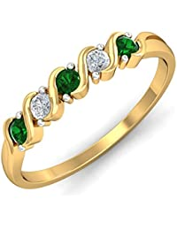 KuberBox Yellow Gold, Diamond And Emerald Ring For Women