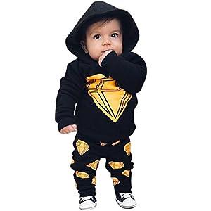 Babykleidung,Sannysis Neugeboren Baby Jungen Hooded Tops + Lange Hosen Outfits Set Kleider(6-24Monat)