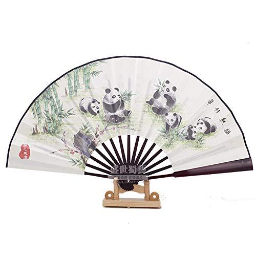 XIAOHAIZI Handfächer,Sommer Chinesischen Stil Männer Bambus Fan Weißen Hintergrund Pflanze Grün Bambus Tier Panda Vintage Seide Fan Für Hauptwanddekoration Männer Geschenk Fan U-Bahn Faltfächer (Panda-bambus-pflanze)