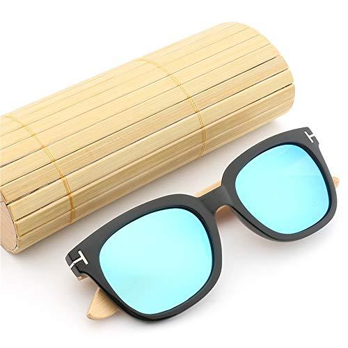 Ruanyi Handgemachte Bambus-Sonnenbrille, Farbfilm-Sonnenbrille polarisierte Sonnenbrille für Unisex (Color : Blue)