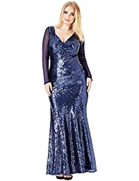 Goddiva Plus Size Long Sleeved Sequin Chiffon Maxi Evening Gown Prom Party  Dress 9885b08cc7df1