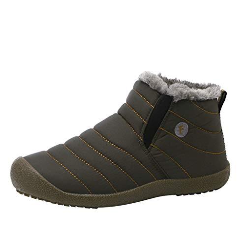 COZOCO Paare Gesteppte Winterstiefel Kurze Plüsch Warme Baumwollstiefel Im Freien wasserdichte Schuhe Schneeschuhe rutschfeste Stiefeletten Für Frauen Männer(Armeegrün,40 EU)