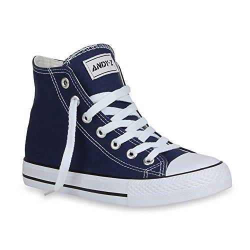 Damen Sneakers High Top Kult Schuhe Sportschuhe Schnürer Dunkelblau