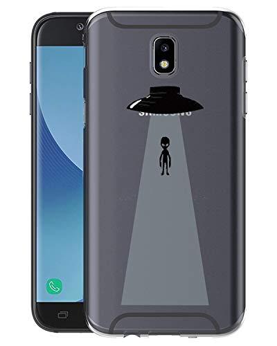 Caler Funda Samsung Galaxy J3/J5/J7 2017 Case, Suave TPU Gel Silicona Ultra-Delgado Ligera Anti-rasguños Dibujos Protección Patrones Animadas Carcasa (OVNI y Extranjeros, J5)