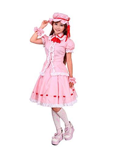 antaina Rosa Baumwolle Rüsche Flieges süß Schüler Knielang Elegant Lolita Cosplay Rock und Bluse,L (Bluse Rüschen Viktorianische)