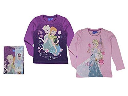 Frozen Die Eiskönigin Langarmshirt Doppelpack (110/116, violett/rosa)
