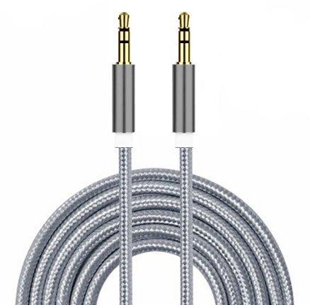 I-Sonite Silber Gold überzogenes Nylonmaterial Geflochtene 3.5mm Buchse an Buchse Anschluss Aux AUX-Audiokabel [3 METER] Für Xiaomi Redmi Note 5 Pro
