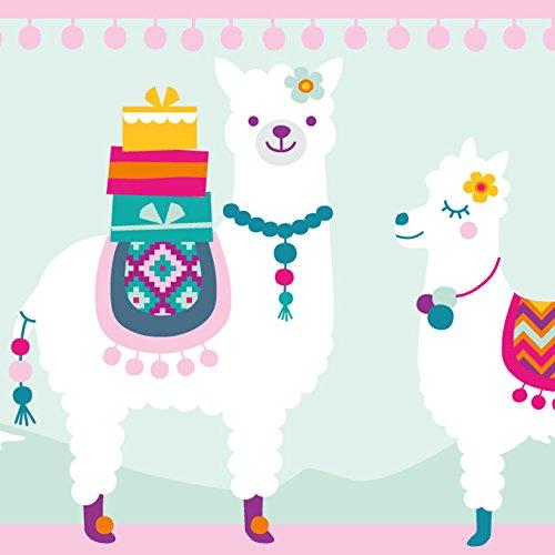 anna wand Bordüre selbstklebend AMAZING ALPACAS - Wandbordüre Kinderzimmer / Babyzimmer mit fröhlichen bunten Alpakas - Wandtattoo...