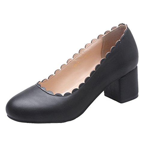 YE Damen Geschlossene Chunky Heel Pumps mit 5cm Absatz Blockabsatz Pumps Schuhe Schwarz