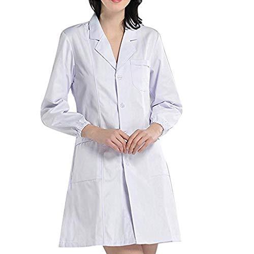 Dasongff Weiße Kittel Damen Laborkittel Langarm Medizinische Mantel Apotheke Kostüm Fasching (Übergröße Kittel Kostüm)
