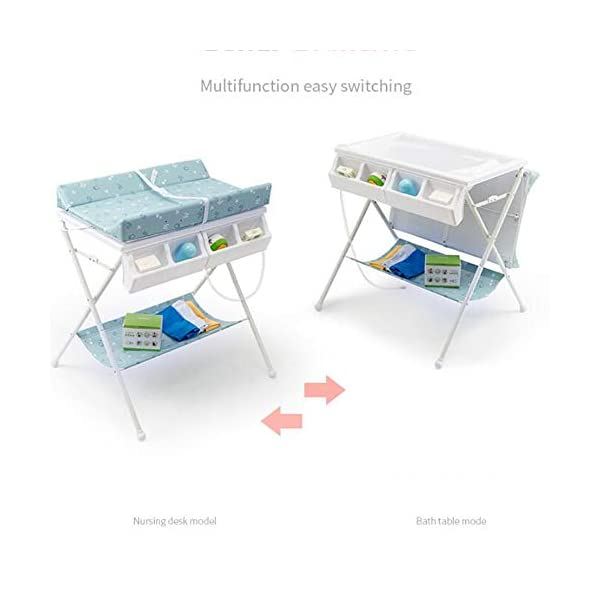 Baby Changing Table Baby Storage Bath Tub Unit Station Dresser Foldable Cross Leg Style AA-SS-Baby Changing Table 【Two in One Design】This baby changing table can be used as baby massaging table as 【Stable Construction】Non-skid feet covers and a sturdy frame keep the table stable and prevent movement. 【Waterproof Material】The surface of the top table is made of durable and wearable Oxford cloth and it can be used for a long period. 18