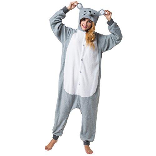 Katara 1744 - Maus Kostüm-Anzug Onesie/Jumpsuit Einteiler Body für Erwachsene Damen Herren als Pyjama oder Schlafanzug Unisex - viele verschiedene (Schlafanzug Für Disney Erwachsene)