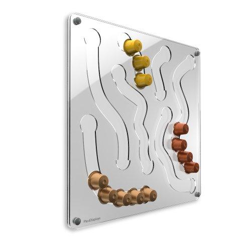Plexidisplays 1303033 Wand-Kapselhalter für Nespresso-Kapseln, Design Fun, 41 x 41 cm, transparent