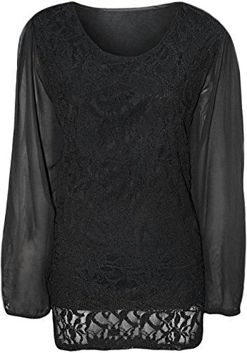Vestito Fashion 4 Less, modello Tunica, da donna, in pizzo foderato nella parte superiore e con maniche lunghe velate in chiffon, taglie EU 42–56 Nero
