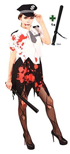 Karneval Klamotten Zombie-Kostüm Damen Polizistin Blutiges Polizistin Kostüm INKL. Polizeistock Halloween Karneval Horror Damenkostüm Größe 40/42 (Zombie Polizei Kostüme)