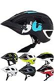 Skullcap® Fahrradhelm ♦ MTB Helm ♦ Mountainbike Helm ♦ Herren & Damen ♦ Schwarz/Neon-Grün matt ✚ Visier/Helmschild (Blue-Black-White, M)