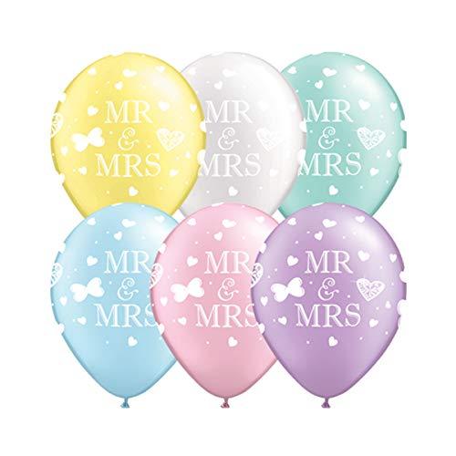 Luftballons MR & MRS Aufschrift, Pastell, 25 Stück. als Deko für Hochzeit, 27 cm Durchmesser -