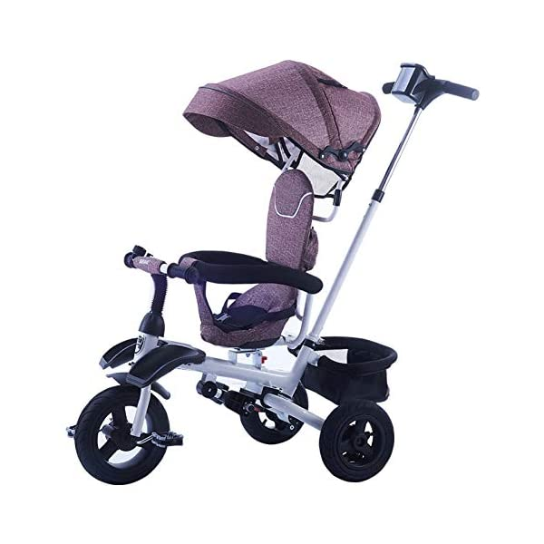 GSDZSY Children Tricycle Kids Stroller 3 In1, Foldable With Removable Push Handle Bar, Rubber Wheel (non-inflated),With Front Footrest, 1-5 Years,B GSDZSY  1