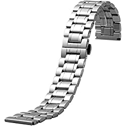 YISUYA 24mm Solid Mens Silver Stainless Steel Band 2.4cm Width Wrist Watch Band Strap Push-Button Hidden Butterfly Clasp Gifts for Watch