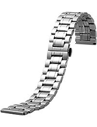 YISUYA 22mm Plata Hombre banda de acero inoxidable reloj de muñeca 2,2cm Ancho de banda correa de botón oculto cierre de mariposa Regalos para reloj