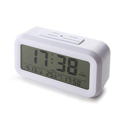 [Upgrade-Version] Smart Backlight Wecker mit 3 Alarmen Sprechen Wecker Anzeige Zeit Temp-Datum Woche und Arbeitstag Einstellung (White) … (Reden Sie Datum Und Zeit, Uhr)