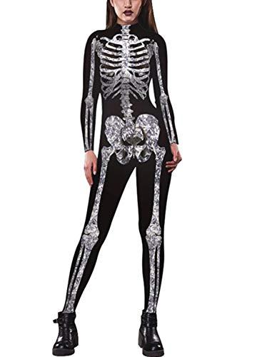 Idgreatim Frauen Halloween Overall Cosplay Kostüme Weiß Knochen Muster Dünne Catsuit Jumpsuit Overalls Schwarz M (Jumpsuit Kostüm Muster)