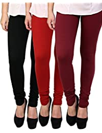 Anekaant Cotton Lycra Women's Legging Pack of 3 (Black, Red, Maroon)