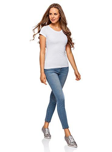 oodji Ultra Damen T-Shirt Basic Aus Baumwolle (2er-Pack) Weiß (1000N)