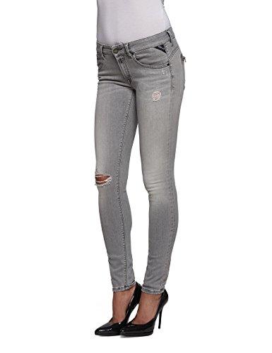 Replay Damen Jeanshose Luz Back Zip Grau (Grey Denim 10)