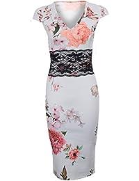 Sapphire TIENDA Mujer cuello en V Manga Japonesa Floral Flor Detalle De Encaje Vestido Ceñido Elástico