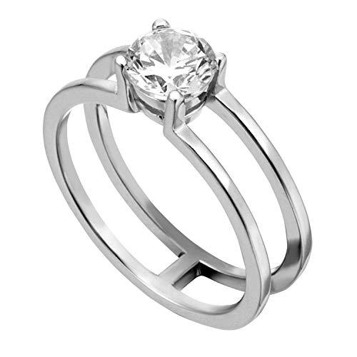 Esprit ESRG00101118 Damen Ring Lillian Sterling-Silber 925 Silber Weiß Zirkonia 18,1 mm Größe 57