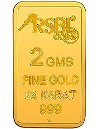 RSBL  2 gm, 24k (999) Yellow Gold Ecoins Precious Bar