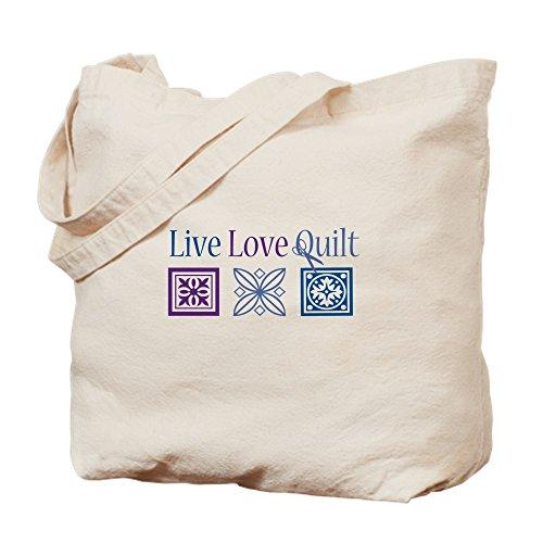 CafePress–Live Love Quilt–Leinwand Natur Tasche, Reinigungstuch Einkaufstasche Tote S khaki (Quilten Quilt Stoff)