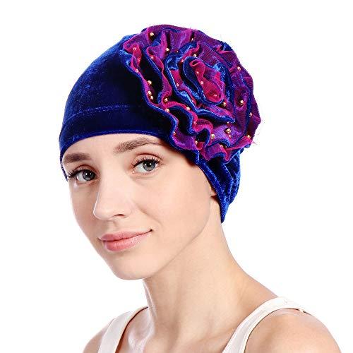 YWLINK Damen SAMT Moslemischer Schal Turban RüSch Krebs Chemo MüTze Indien Hut Wrap Kappe (Blau)