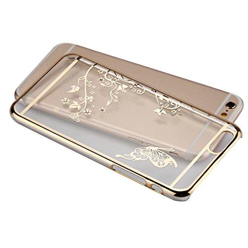 JAWSEU Hard Clear Schutzhülle für iPhone 6/6S,Ultra Dünne Bumper-Style Überzug Glitzer/Strass/Diamanten/Glänzend Löwenzahn Dandelion Slim Durchsichtig Transparent Crystal Clear Hart PC Zurück Shale Ta Schmetterling,Gold