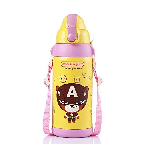 oneisall dgybl145Kinder Edelstahl Vakuum Isoliert thermoses Fläschchen Sport Wasser Flasche mit Schale Tasse und Strohhalm für Kinder, 600ml, rose (Fläschchen Unbekannte)