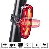 WOTUMEO Eclairage Arrière Vélo, USB Rechargeable LED Bicyclette Feu Arrière Imperméable Installation Facile Lumière de Bicyclette Rouge Blanc Double Couleurs 6 Modes Lumières de Sécurité à Vélo