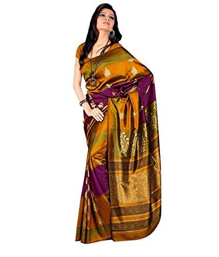 Miraan Silk Autumn Allure Printed Saree (SD18102_Yellow)