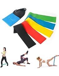 5 Bandas de Resistencia Premium - Perfecto Bandas Elasticas para la Yoga, Pilates o rehabilitación de lesiones Látex natural Apto para Hombres y Mujeres -Uvistar (Bandas)