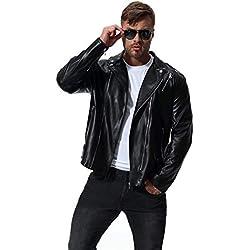 Hombre Slim Fit Cruz Cremallera Retro Vintage Chaqueta de Piel Vintage Biker Negro 3XL