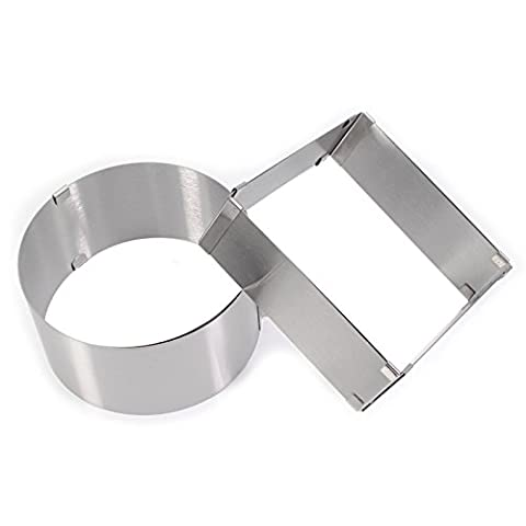 VALINK Stainless Steel Adjustable Cake Mousse Ring set of 2, Round & Square Cake Mould, Kitchen Baking Mold, Cooking Pastry